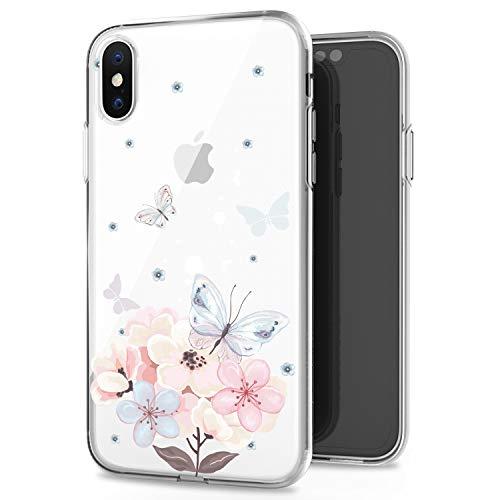 JIAXIUFEN iPhone XS Max Hülle Handyhülle TPU Silikon Weiche Clear Schutzhülle Transparent Flexibel Case Handy Hülle für Apple iPhone XS Max 2018 6.5 Zoll - Butterfly Flower