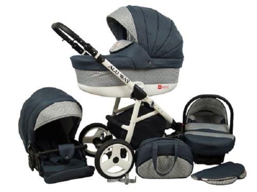Kinderwagen Alu Way, 3 in 1- Set Wanne Buggy Babyschale Autositz (Dark Grey)