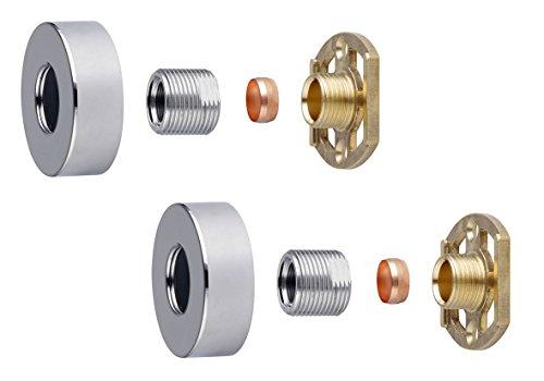 Barre de douche mitigeur thermostatique 3/4 Carré ou rond Laiton rapide Easy Fit Kit de fixation, chrome
