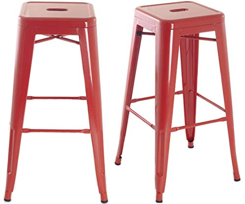 Tabouret de bar design industriel MANHATTAN (lot de 2) Rouge