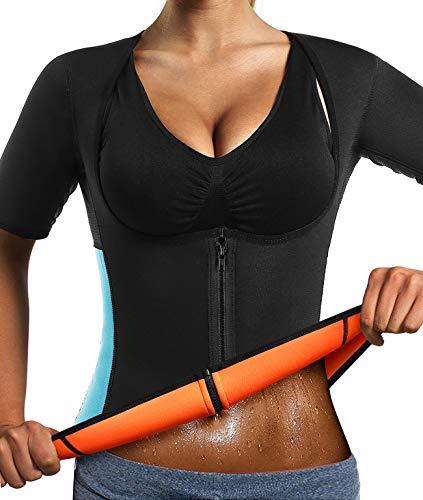 InLoveY Schlankmachendes Shirt mit Ärmeln, Neopren, für Workout/ Fitnessstudio/ Sauna, zum Formen der Figur/ Gewichtsabnahme xl schwarz -