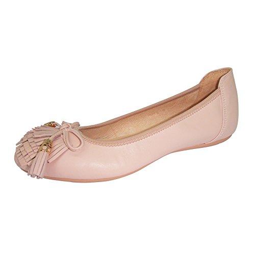Silber Leder Slip (Frauen Casual Fashion Luxus Schöne Slip auf Kuhfell Leder Flache Schuhe Weiche Ballett Tanzschuhe 607-24 Rosa 41)
