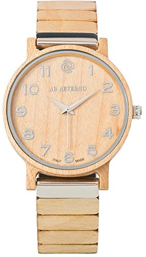 """AB AETERNO """"Fenix White 35"""" Ahorn Holz Swiss Quarz Silber Hypoallergen Damen Uhr"""