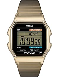 Timex Mens T78677 Classic Digital Gold-Tone Expansion Band Stainless Steel Bracelet Watch