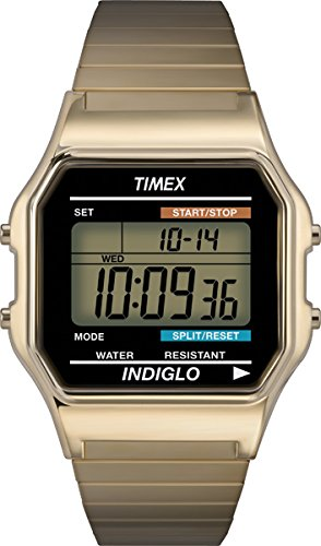 Timex Mens T78677 Classic Digital Gold-Tone Expansion Band Stainless Steel Bracelet Watch image