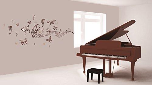 (Sticker für Wand – Wandtatoos für Kinderzimmer, Wohnzimmer, Schlafzimmer, Babyzimmer - Wanddeko Modern – 2 x 70x50cm Wandsticker Deko Set Folien Musikalische Schmetterlinge)
