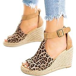Sandalias con Pulsera para Mujer Tacones de cuña Correa de Tobillo Zapatos con Punta Abierta Leopardo 38 EU