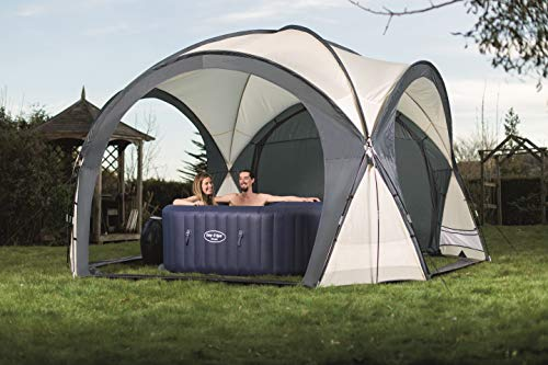Whether you want your hot tub to be a complete hideout spa, shield yourself totally from the elements, or benefit from a top cover with a little breeze from the sides, the Lay-Z-Spa Hot Tub and Pool Gazebo Dome Enclosure does it all. This four-sided enclosure is able to open on all sides or close fully to suit your needs. It measures 390 x 390 x 255 cm (D x W x H), so you must check the size of your hot tub beforehand.