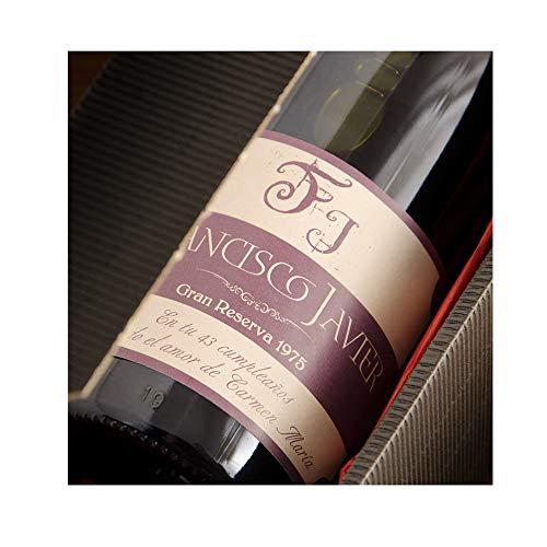 CALLE DEL REGALO Botella de Vino con Etiqueta Personalizada con Iniciales, Nombre, año y dedicatoria para Regalar.