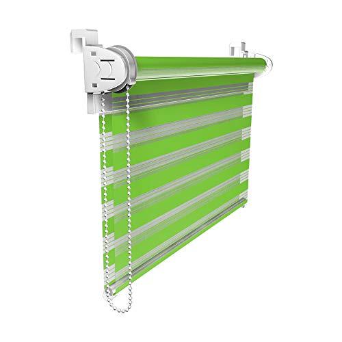 VICTORIA M Doppelrollo 75 x 150cm grün - Klemmfix Duo-Rollo ohne Bohren mit Klemmträgern