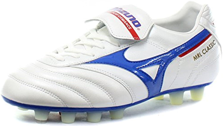 Mizuno - Botas de fútbol de Piel para hombre Blanco blanco, azul y rojo
