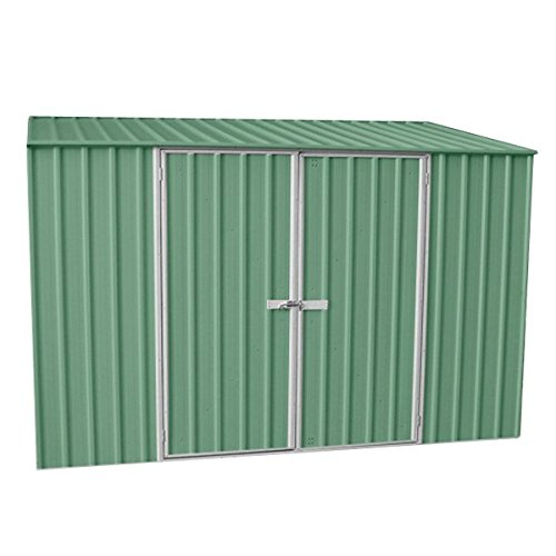 910-ft-x-5ft-pale-eucalyptus-easy-build-pent-metal-shed-with-double-doors