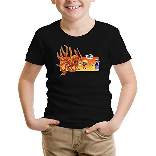 T-Shirt Enfant Noir Naruto - Pokémon parodique Naruto et Kyubi X Sasha et Pikachu : Un Nouveau dresseur. (Parodie Naruto - Pokémon)