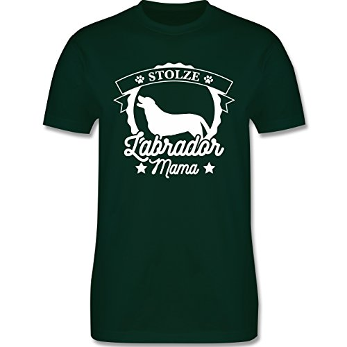 Shirtracer Hunde - Stolze Labrador Mama - Herren T-Shirt Rundhals Dunkelgrün
