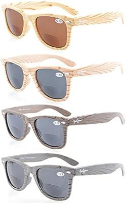 Eyekepper Pack de 4bambú diseño de madera Classic Bifocal sol lectores-Gafas de sol bifocales