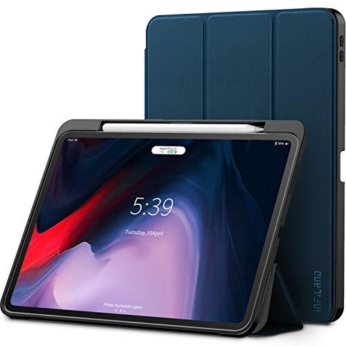 Infiland iPad Pro 11 Zoll 2018 Hülle mit Apple Pencil Halter, Smart TPU Schräges Tuch Schutzhülle Tasche mit Auto Schlaf/Wach Funktion (Unterstützt Das Aufladen des Apple Pencil),Dunkleblau (Tuch, Ipad Tasche)