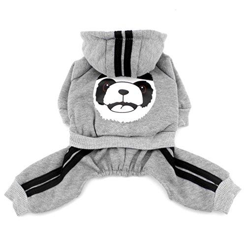 smalllee_lucky_store Dick Warm Panda Hoodies Sweatshirt Hund Jumpsuits Fleece grau, grau, Größe XXL