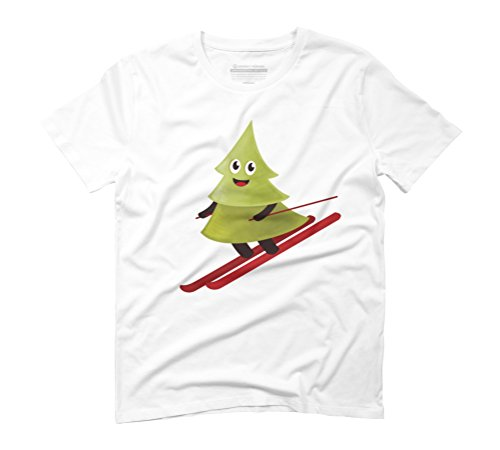 Happy Pine Tree On Ski Men's Graphic T-Shirt - Design By Humans White