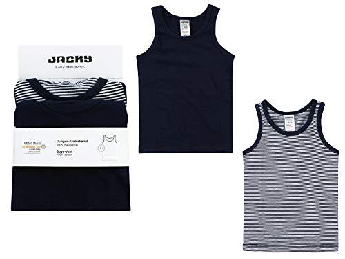 Jacky Jacky Jungen Unterhemden, 2er-Pack, Größe: 86/92, Alter: 1-1,5 Jahre, Schwarz/Weiß, 770070