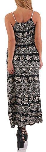 malito élégant Maxi-Robe dans le Orient-Design B1633 Femme Taille Unique Noir