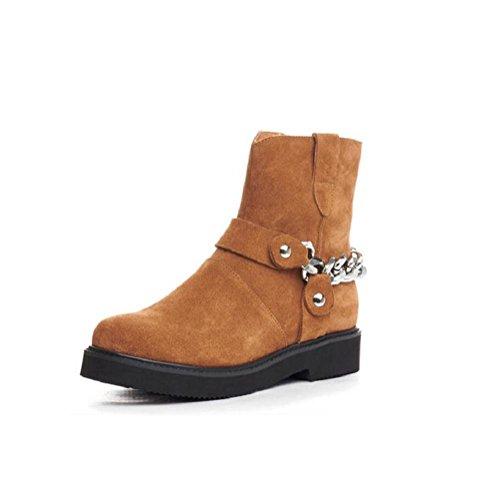 YYH Macchia Martin stivali stivali da personalità ferro catena tubo corto donna . brown . 37