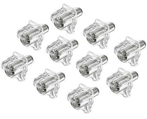 Gedotec Regal-Halterung Montage Regal-Halter Schrank Fach-Bodenträger zum Einbauen - H3105   Kunststoff transparent   Bohrloch Ø 5 mm   100 Stück