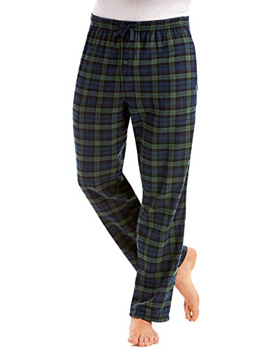 Hanes mens Jersey Flannel Pants(02006/02006X)-Green Plaid-2XL -