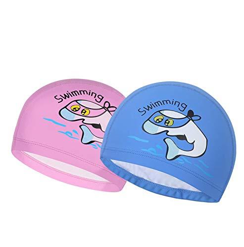 Boomly bambino bambini cartone animato cuffia da nuoto pu impermeabile cuffia da nuoto cuffie antirumore cuffia da bagno per spiaggia, piscina bambini di 3-10 anni (rosa + blu, 23 * 15cm)