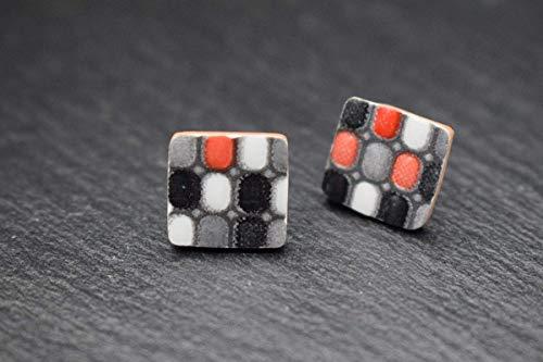 Keramik-Designer-Schmuck für Damen Ohrstecker in weiß rot grau schwarz Handmade Modeschmuck Ohrringe