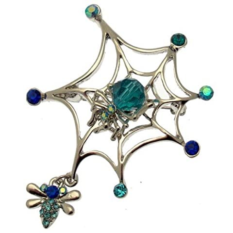 Acosta Brooches - Aqua Blue Crystal & Bead - Silver Tone Spider Web Brooch with Fly Charm - Gift Boxed by Acosta Jewellery