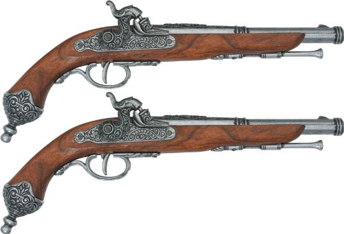 Denix Erwachsene Deluxe Box 2 Doppel Pistolen Gefälschte Waffenreplik, schwarz, One Size -