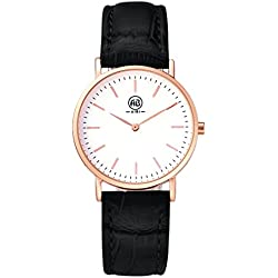 AIBI Womens Rose Gold Classic Analogue Display Watch with Black Leather Strap