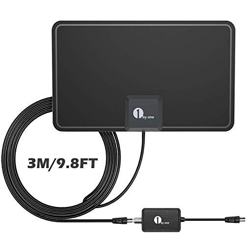 1byone TV Antenne mit Verstärker, Indoor DVB-T2 /DVB-T Antenne, Superflache Digitale Zimmerantenne, 4K 1080P HDTV Innenantenne, DVBT2 Antenne mit hoher Empfangsleistung