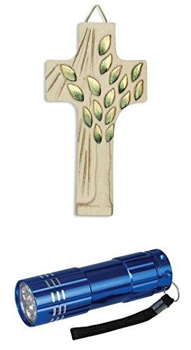 Kruzifix Holzkreuz geschnitzt, goldfarben Lebensbaum 11 cm mit LED Alu Taschenlampe (Lebensbaum-kruzifix)