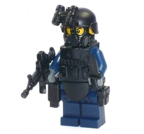 Polizei Figur SWAT Spezialeinheit aus LEGO® Teilen mit Custom Zubehör (Zubehör Polizist)