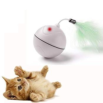 Jouets de Chat Chargé par USB Balle à Rouler Automatique avec Point de Lumière Rouge Jouet d'Exercice Interactif de Divertissement avec la Plume Détachable pour des Chatons - BATTERIE RECHARGEABLE