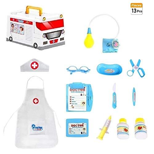 COOLGO Arztkoffer Set Kinder, 14Pcs Rollenspiel Spielset Krankenwagen Spielzeugkiste Arztkoffer-Set mit Arzt kostüm und Arztinstrumente Spielzeug für Kinder(Arztkoffer Set ()
