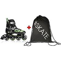 SET - METEOR® AREA Patines en Línea + ULTRAPOWER® Mochila de cordón   Niños   Mujer   Hombre   Inline Skates   ABEC7 de carbono   Tamaños ajustable   30-33 / 34-37 / 38-41, Color:verde, Tamaño:M (34-37)