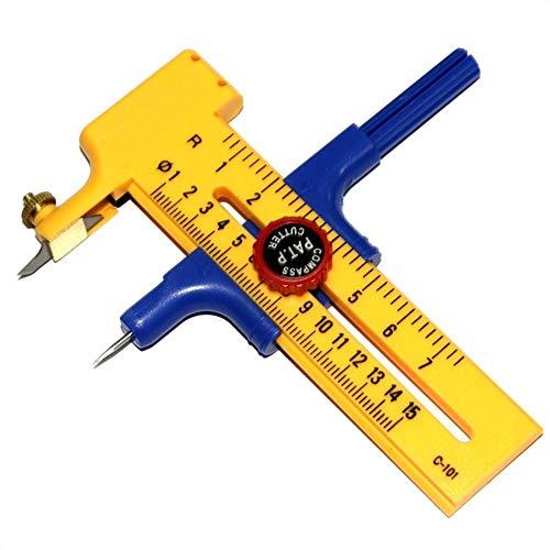 Destinely taglierino a compasso, fresa rotante (diametro regolabile) cutter cerchi cerchio 1-15cm