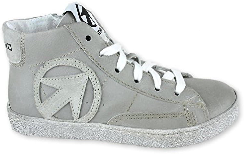 Momino Grigio Off Leder Sneaker High Ungefüttert Reißverschluss