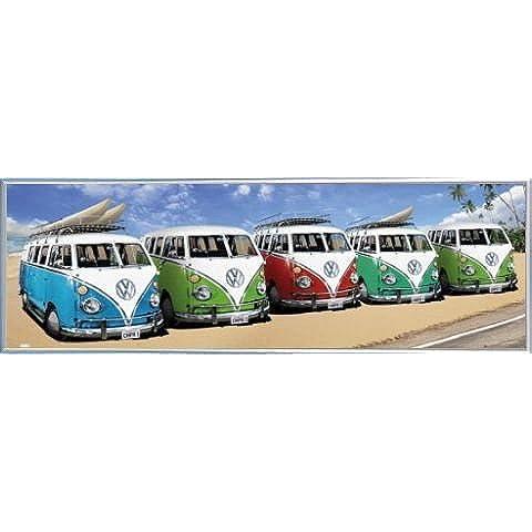 Macchine Door Poster e Cornice (Plastica) - VW Bus, California Spiaggia (158 x 53cm)