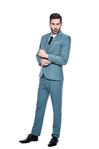 GOMY Herren Slim Fit 3-Teilig Anzüge Tweed Business Hochzeit Sakko Weste Anzughose Blau