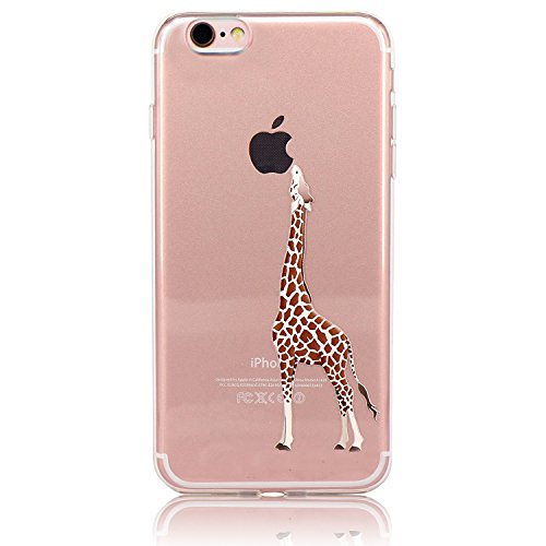 iPhone 7 Case Clear, Sunroyal Ultra Slim Transparent Soft TPU Silicone Back Rubber Bumper Clear Creative Pattern Design Flexible Protector Cover Case for iPhone 7 4.7 inch - Giraffe Eating Apple