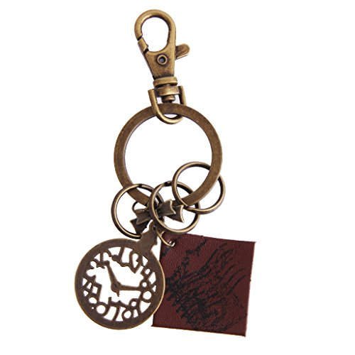 Imported Vintage Clock Leather Pendant Keyring Key Chain Gift  available at amazon for Rs.220
