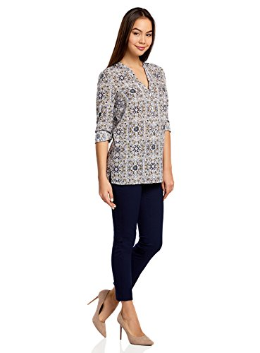 oodji Collection Femme Blouse en Viscose Imprimée Multicolore (1279E)