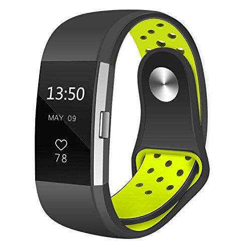 Fitbit Armband Charge 2 Sport/Sportarmband für Fitbit Charge 2/atmungsaktives Silikon, Austauschzubehör, Armband für Fitbit HR Fitness Tracker, Schwarz/Volt klein S