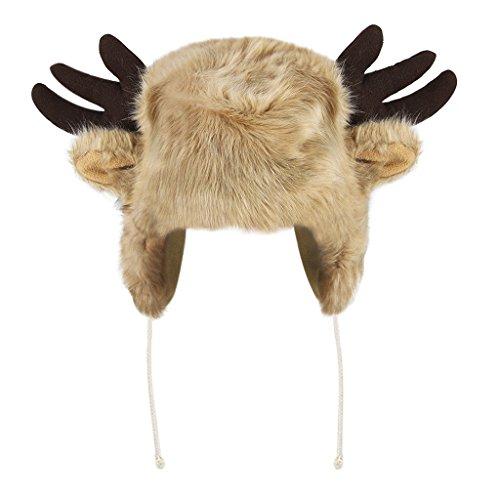 YJZQ Bonnet Unisexe Bonnet Animal Chaud Chapeau tête de Renne et Corne du Veau Cagoule en Peluche Casquette Fausse Fourrure pour Adult Grand Enfants Cadeau Noël Aniverssaire Fête