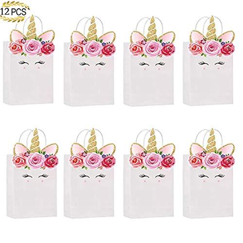 12 Stück Tüte Tragetasche Einhorn-Thema Papiertüte Einkaufstasche Geschenktüte Pommes Frites Box...