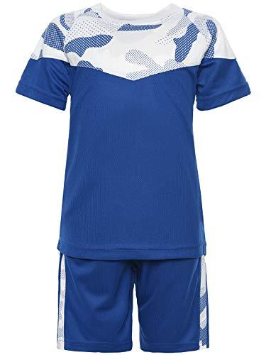 Mädchen Für Kostüm Coole Drei - Kinder Jungen Sommer Set T-Shirt Rundhals Stoff Shorts Capri Loose Fit 30083 Blau 152