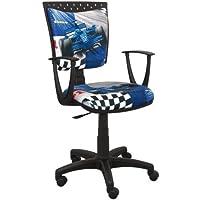 Preisvergleich für Best For Kids Kinderschreibtischstuhl Jugend-Bürostuhl Kinder-Drehstuhl 6 Design Formel1 F1 Motor SPIDDO (SPIDDO F1-BLAU)
